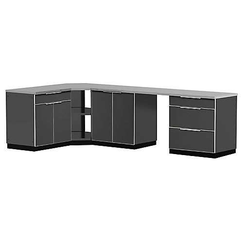 6-Piece Aluminum Outdoor Kitchen in Slate with Cover