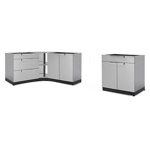184-inch W x 37-inch H x 24-inch D 4-Piece Stainless Steel Outdoor Kitchen