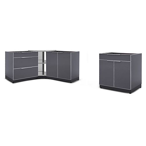 4-Piece Aluminum Slate Outdoor Kitchen Cabinets with Corner Cabinet