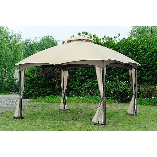 10 ft. x 12 ft. Steel Frame Gazebo with Double-Tiered Roof and Mosquito Netting