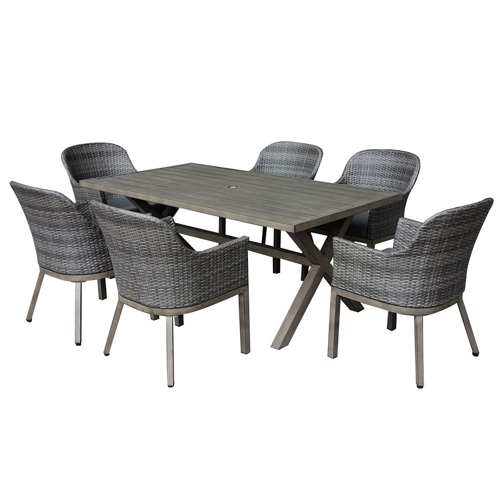 Hampton Bay Crown View 7 Piece Wicker Rectangular Outdoor Patio Dining Set With Grey Seat The Home Depot Canada