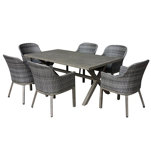 Crown View 7-Piece Wicker Rectangular Outdoor Patio Dining Set with Grey Cushions
