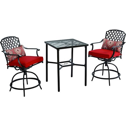 Kings Square 3-Piece Patio High Bistro Set with Swivel Chairs
