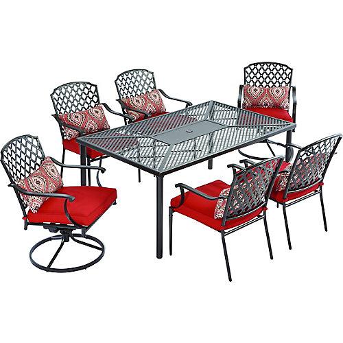 Ensemble de salle à manger de jardin King Square avec coussins rouges, 7 pièces