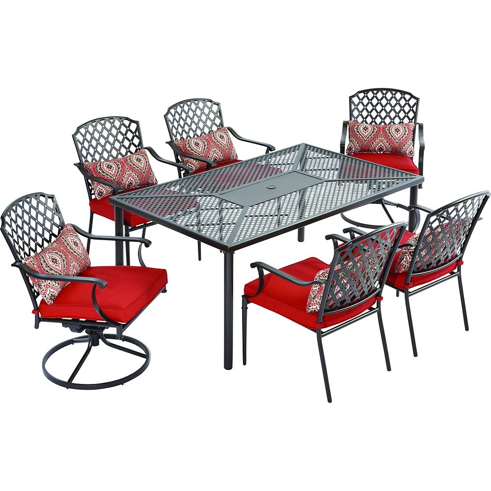 king s square 7 piece patio dining set with red cushions