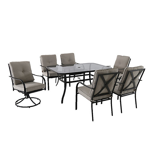 Vestri 7-Piece Steel Patio Dining Set with Grey Cushions
