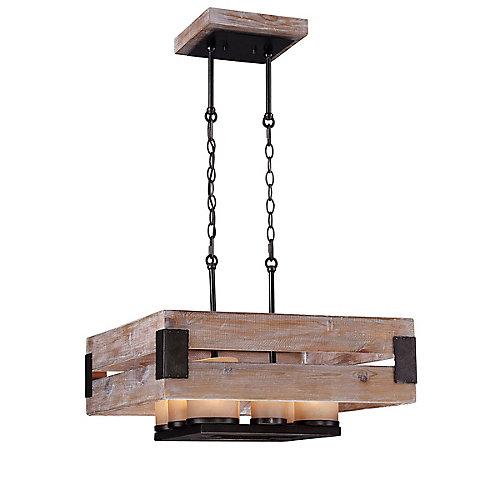 Collection Cesto, lustre carré en bois à 8ampoules