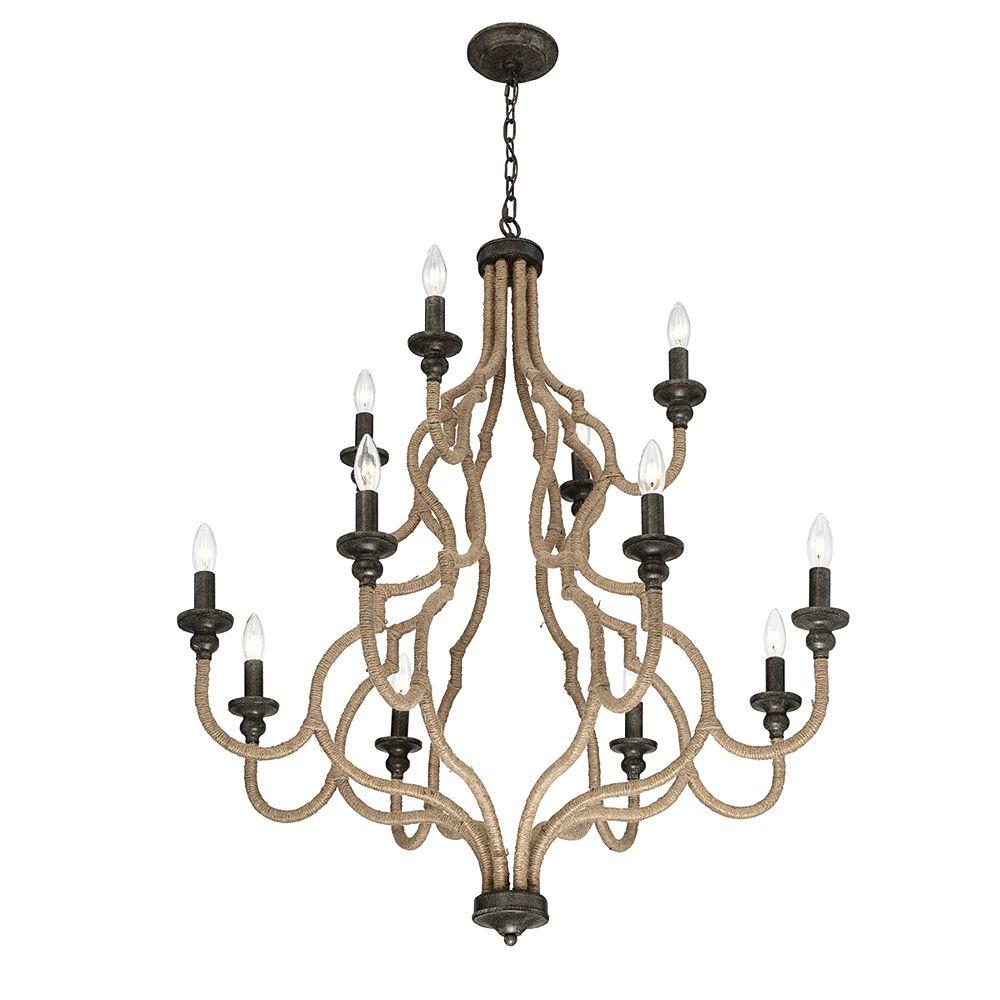 Eurofase Corda Collection, 12-Light Bronze Chandelier