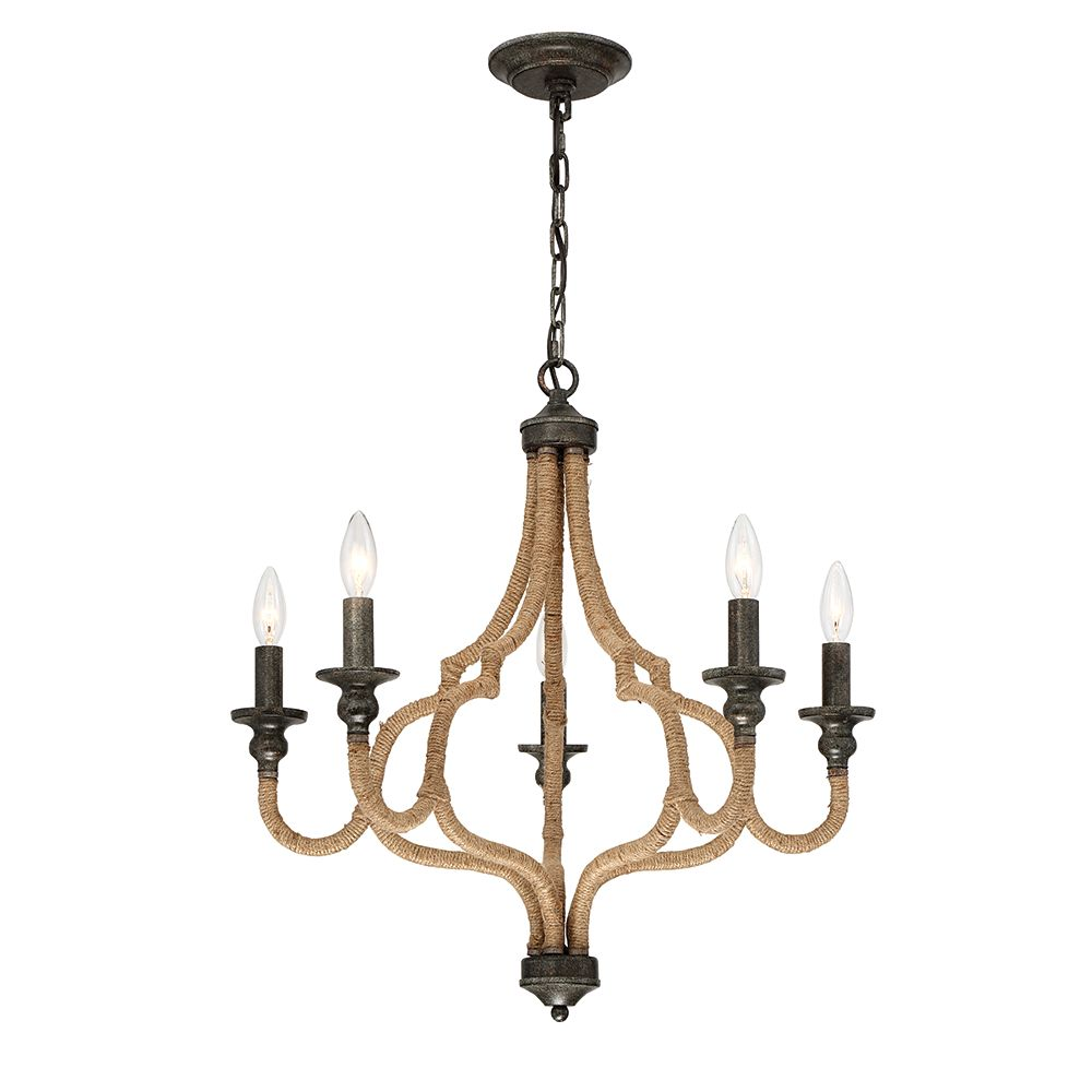 Eurofase Corda Collection, 5-Light Bronze Chandelier