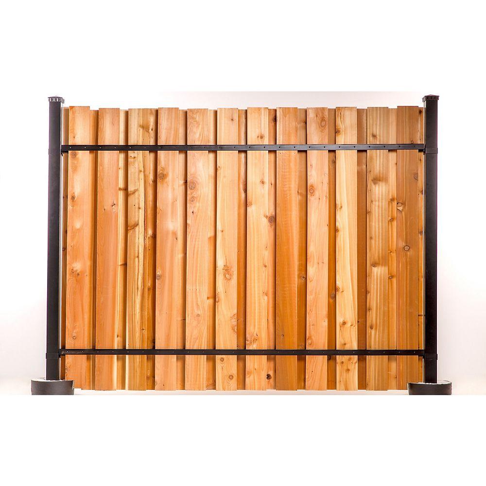 Tahoe Slipfence 6 ft. x 8 ft. Black Aluminum Corner Post Fence Panel Kit with 9 ft. Post
