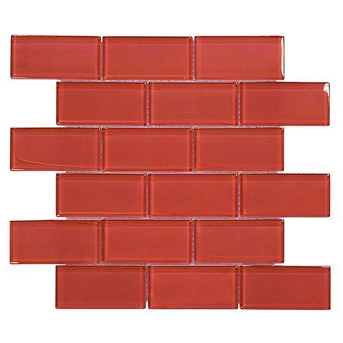 Lipstick 2x4/12 Inch x 12 Inch x 8mm Glass Mosaic Wall Tile