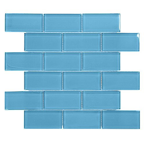 Brick in Blues 2-inch x 4-inch x 8mm on 12-inch x 12-inch Mesh Blue Glass Mosaic Wall Tile
