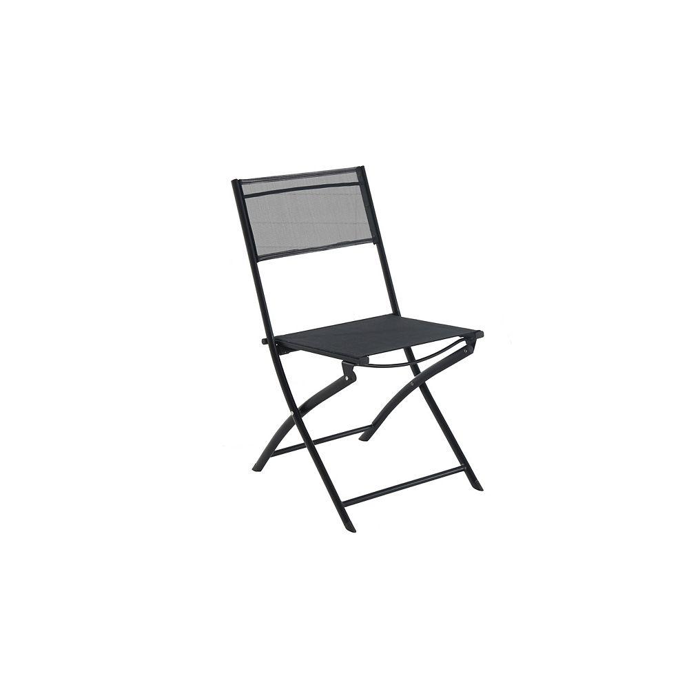 Hampton Bay Patio Sling Folding Chair in Black