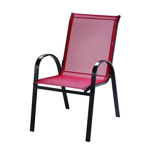Steel Patio Sling Stacking Chair in Red