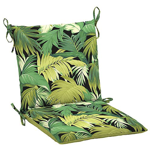 19 inch L x 20 inch W x 3.5 inch T Midback Outdoor Dining Chair Cushion in Green Tropicalia