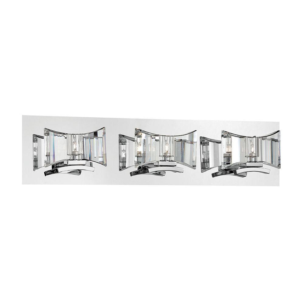Eurofase Uzo Collection, 3-Light Chrome and Clear Bath Bar