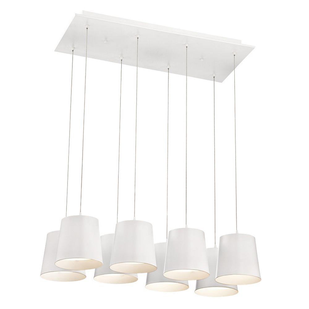 Eurofase Collection Borto, lustre blanc à 8 ampoules DEL