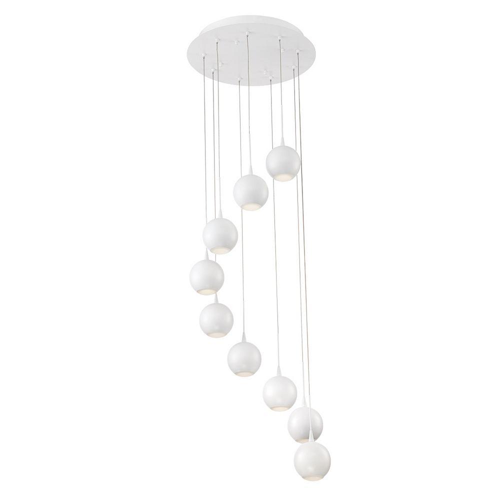 Eurofase Patruno Collection, 9-Light LED White Chandelier