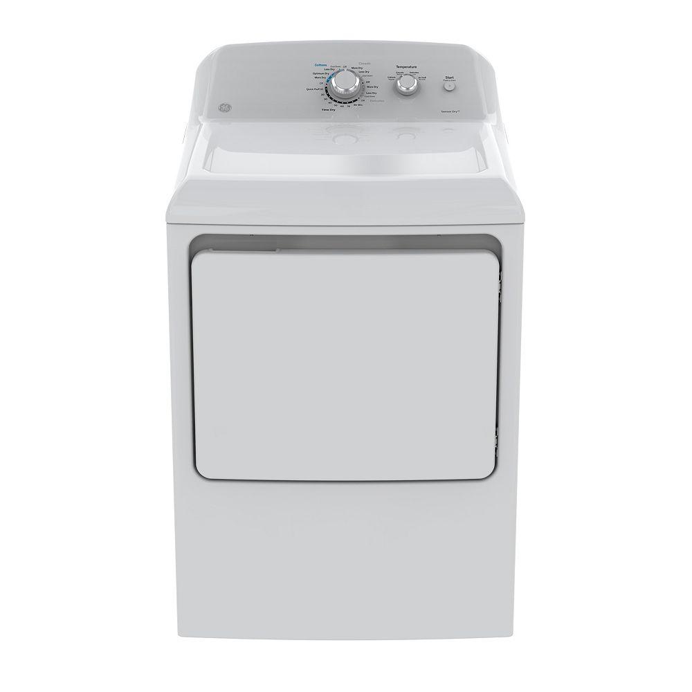 GE Séchoir électrique à chargement frontal de 7,2 pi3 en blanc