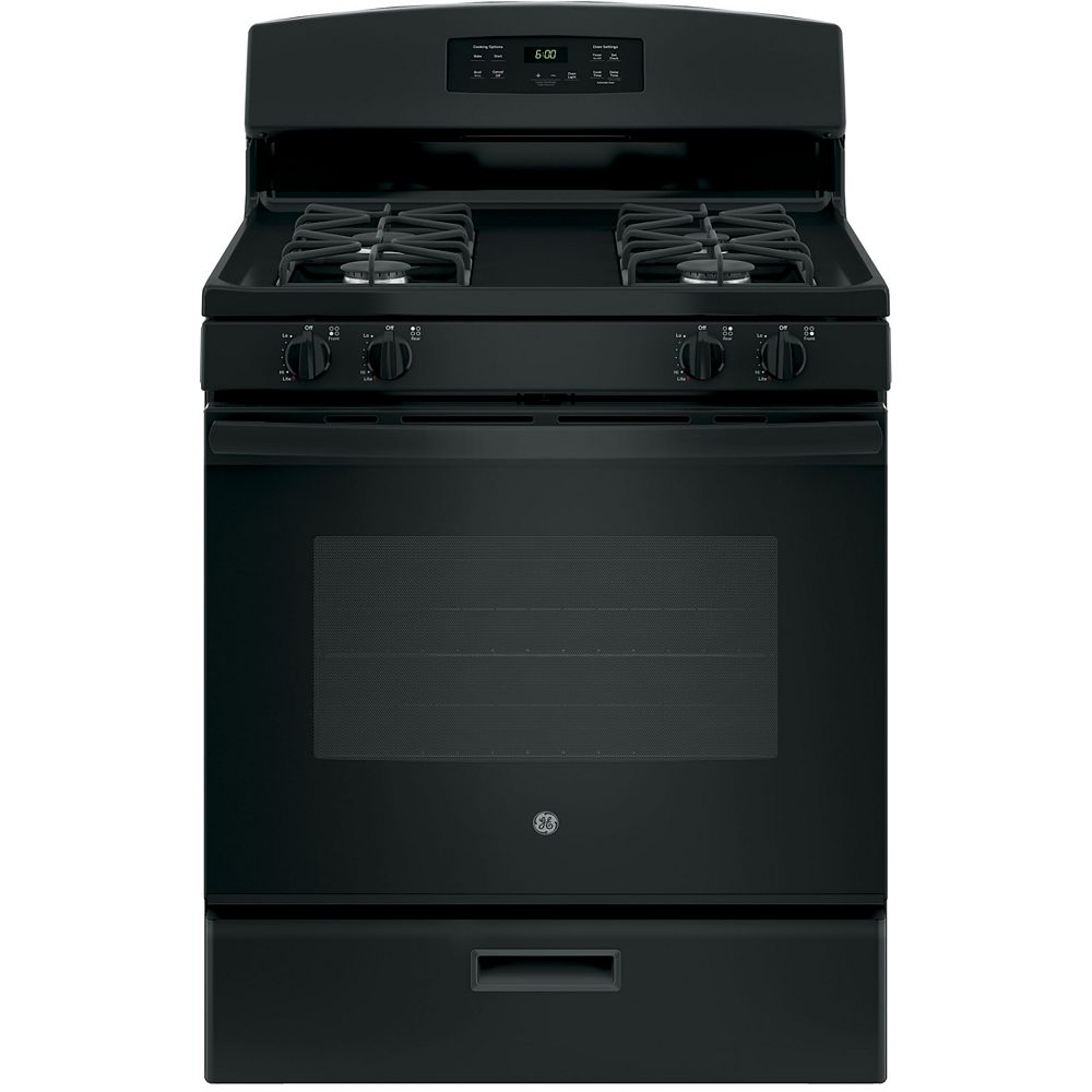 GE 30-inch 5.0 cu. ft. Single Oven Gas Range with Oven in Black