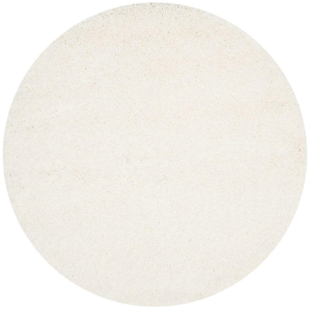 Safavieh Shag Felicia White 4 ft. x 4 ft. Indoor Round Area Rug