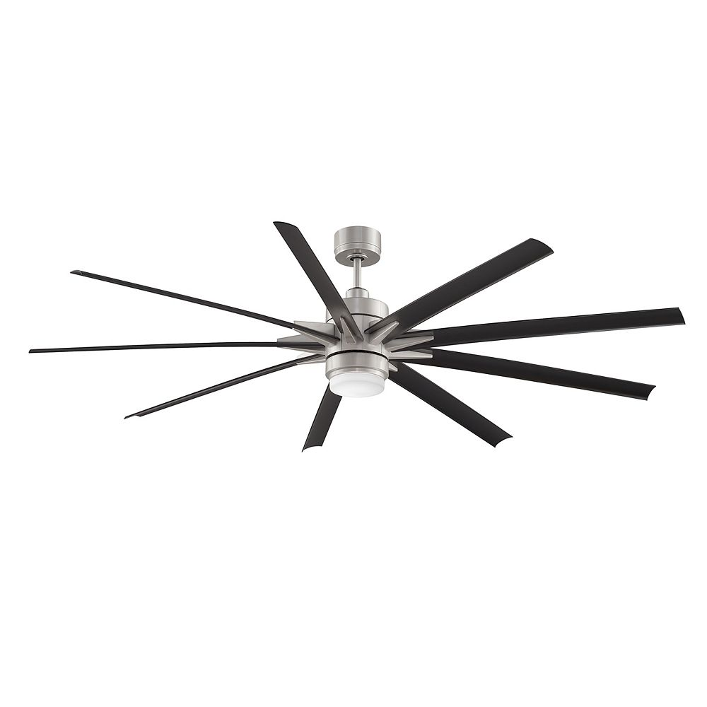 FANIMATION Odyn 84 inch 9-Blade LED Indoor/Outdoor Black and Brushed Nickel Ceiling Fan