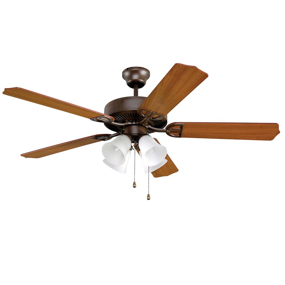 FANIMATION Aire Dcor 4-Light 52 inch 5-Blade Indoor Oil-Rubbed Bronze Ceiling Fan with Frosted Glass
