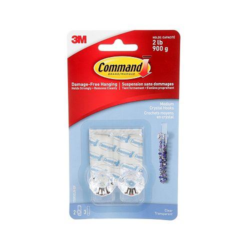 Command Medium Crystal Hook, 17095CLR-EF, clear