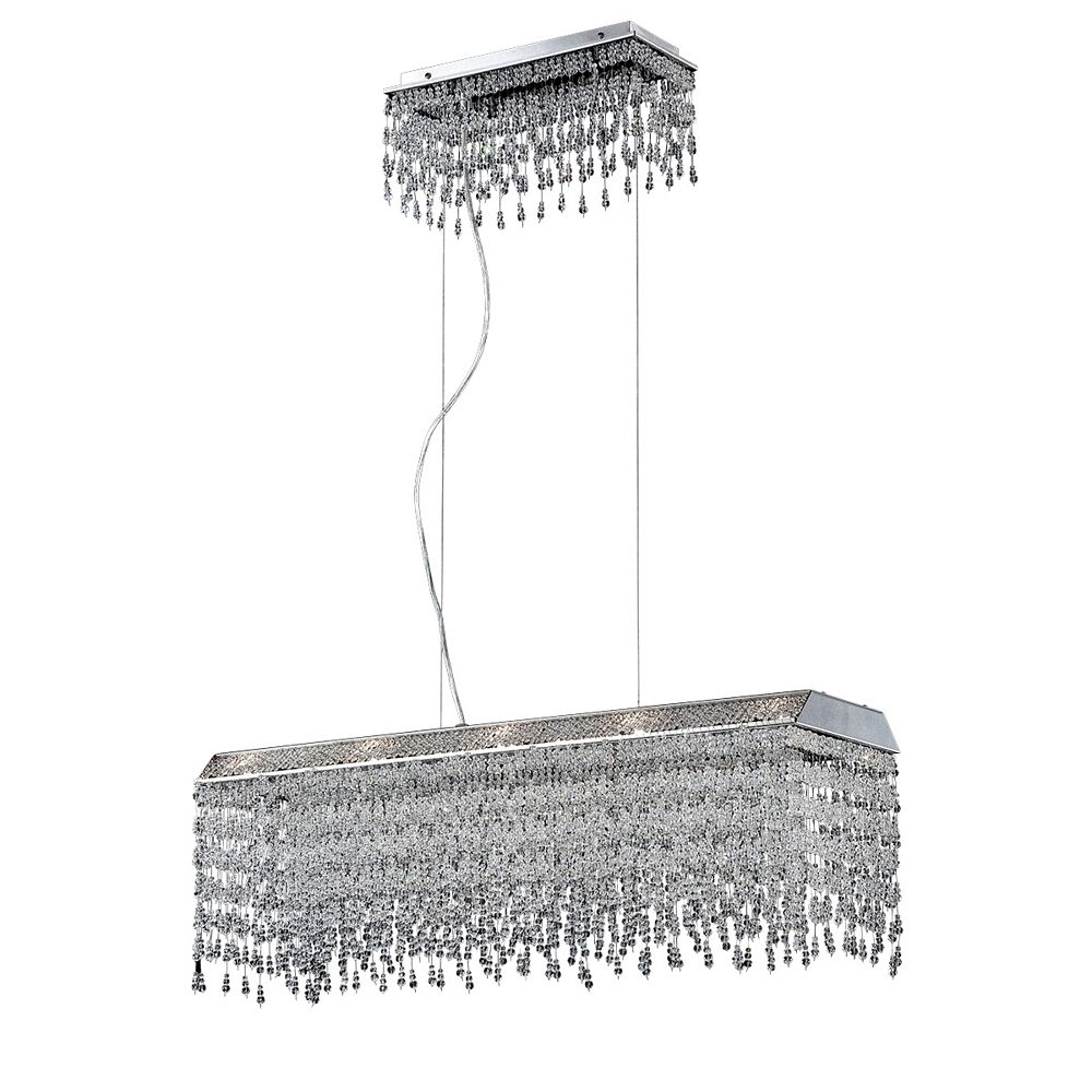 Eurofase Fonte Collection, 10-Light Chrome and Clear Rectangular Chandelier