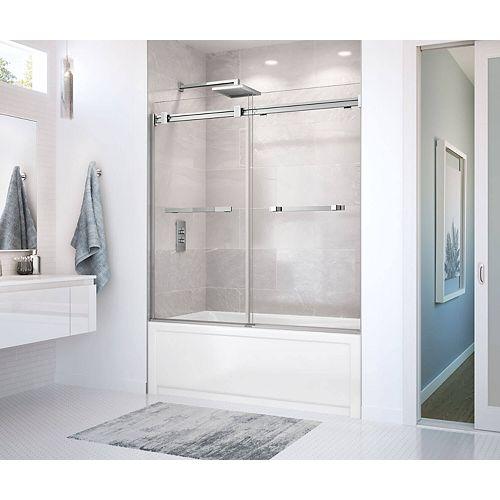 Duel 56 - 59 x 55-1/2 po. Porte de baignoire coulissante sans cadre, fini chrome avec verre clair