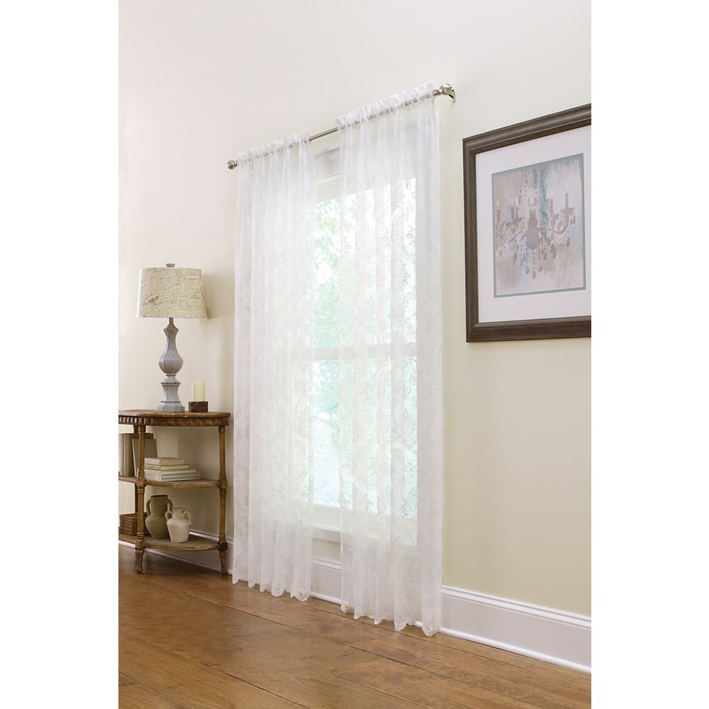 Home Decorators Collection Boucle Sheer Rod Pocket Lace Curtain 50 inches width X 95 inches length, White