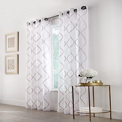 Hourglass Light Filtering Grommet Curtain 50 inches width X 108 inches length, White
