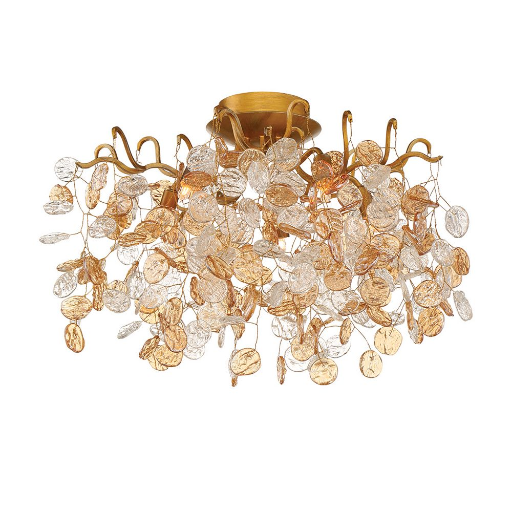 HDG Campobasso Collection 5-Light Gold Semi Flush Mount