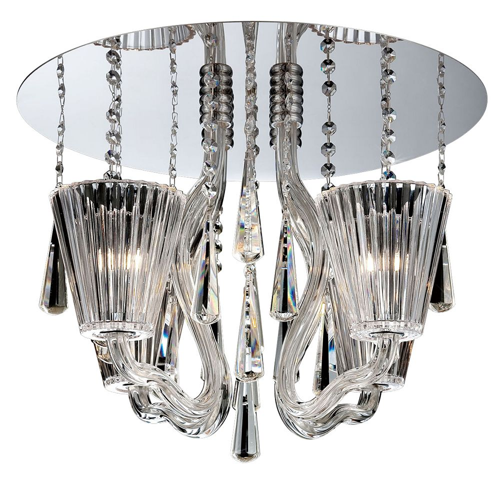 Eurofase Collection Corato, plafonnier chrome et transparent à 4ampoules