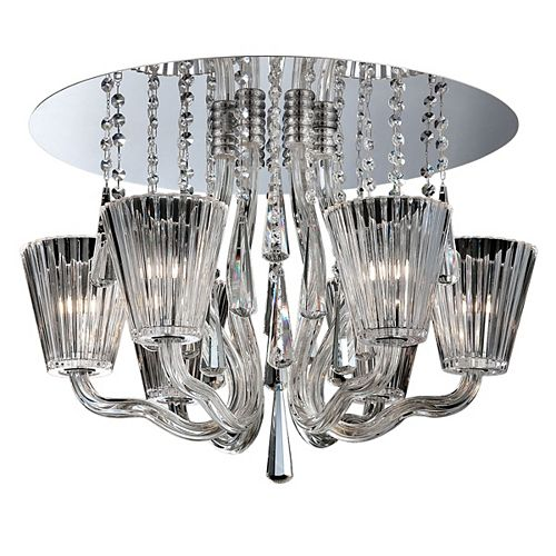 Eurofase Corato Collection, 6-Light Chrome and Clear Flushmount