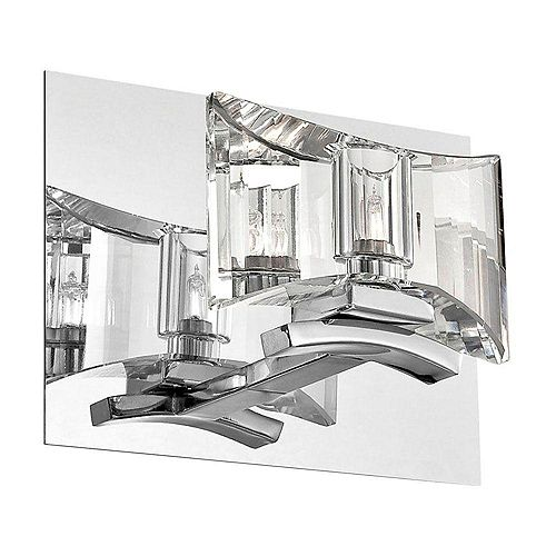 Uzo Collection 1-Light Chrome and Clear Wall Sconce