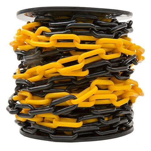 2 po x 65 pi Chaîne de barrière en plastique noir et jaune à deux tons