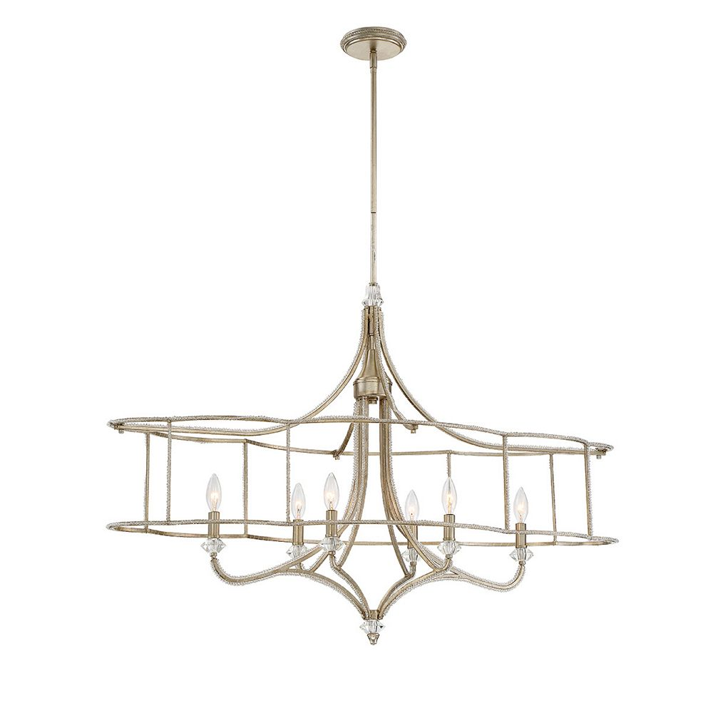 Eurofase Palmisano Collection, 6-Light Oval Silver Chandelier