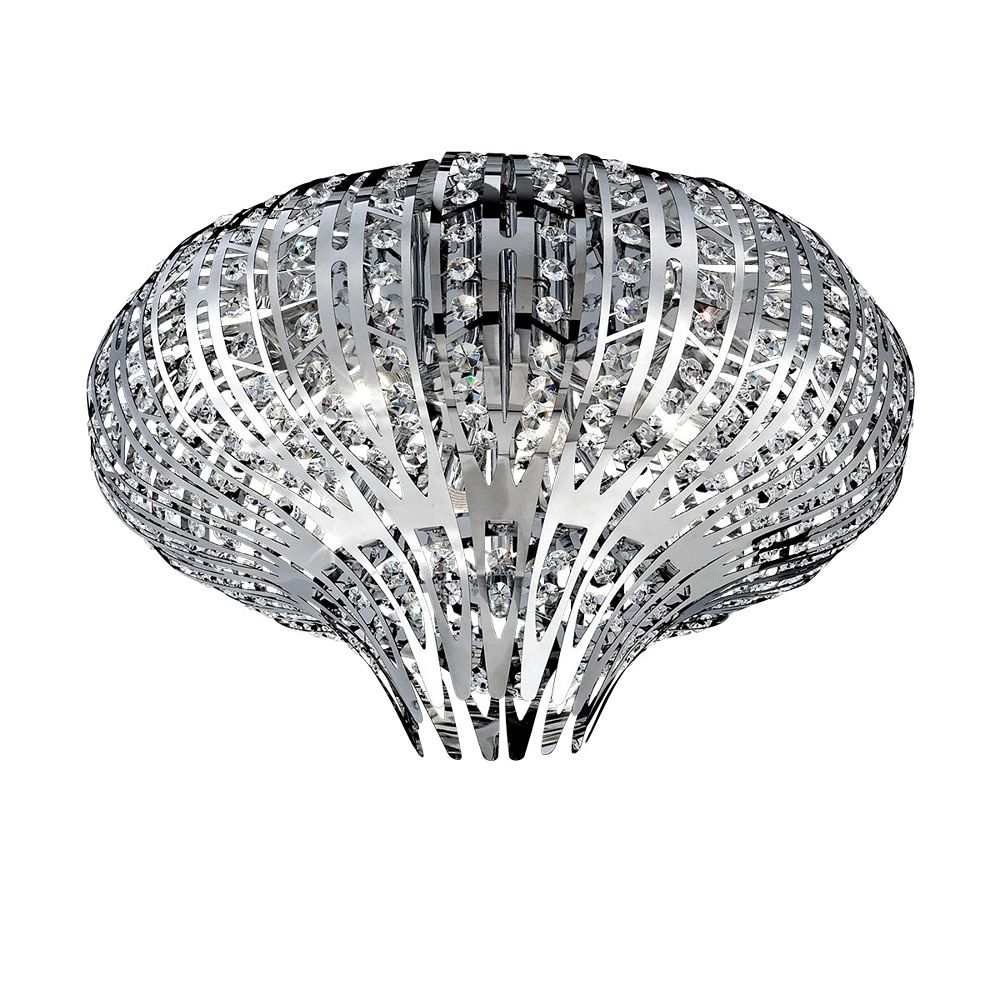 Eurofase Monica Collection, 6-Light Chrome and Clear Flushmount