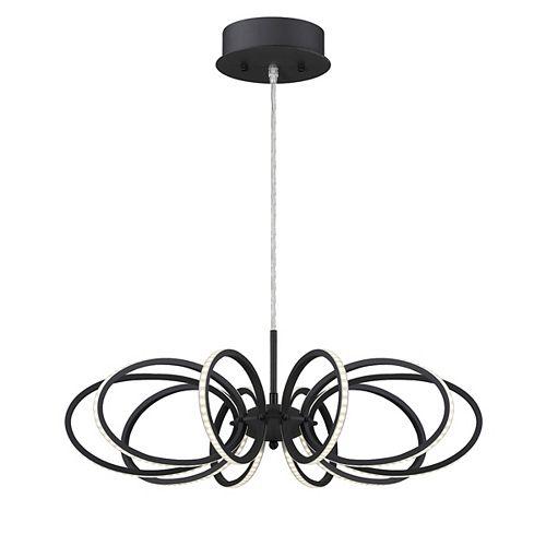 Collection Tela, luminaire suspendu noir à 10ampoules DEL