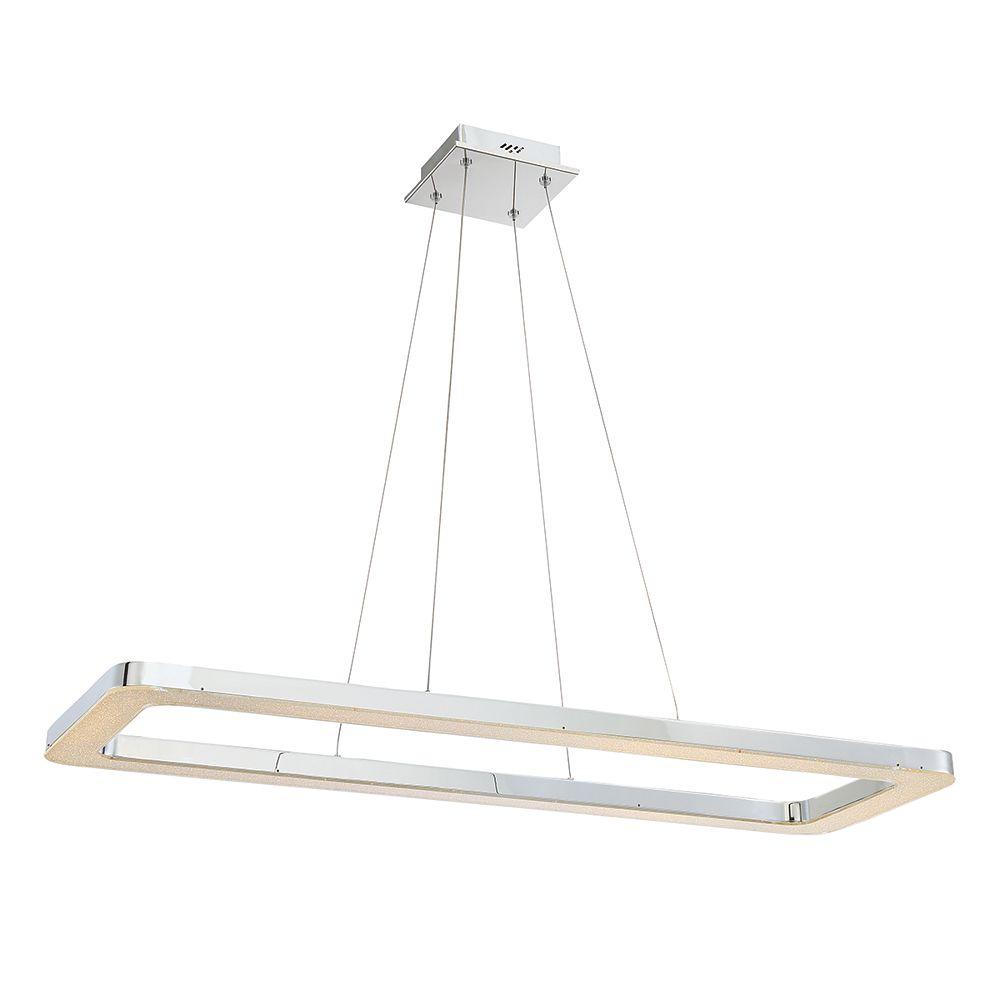 Eurofase Zatina Collection, 1-Light LED Rectangular Chrome Pendant