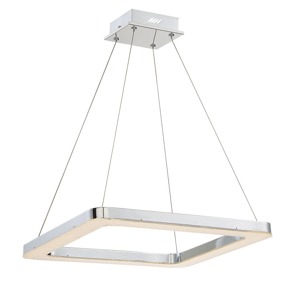 Eurofase Zatina Collection, 1-Light LED Square Chrome Pendant