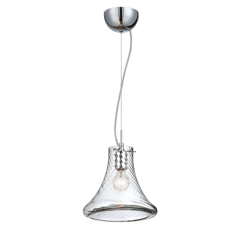 Eurofase Bloor Collection, 1-Light Small Chrome and Clear Pendant