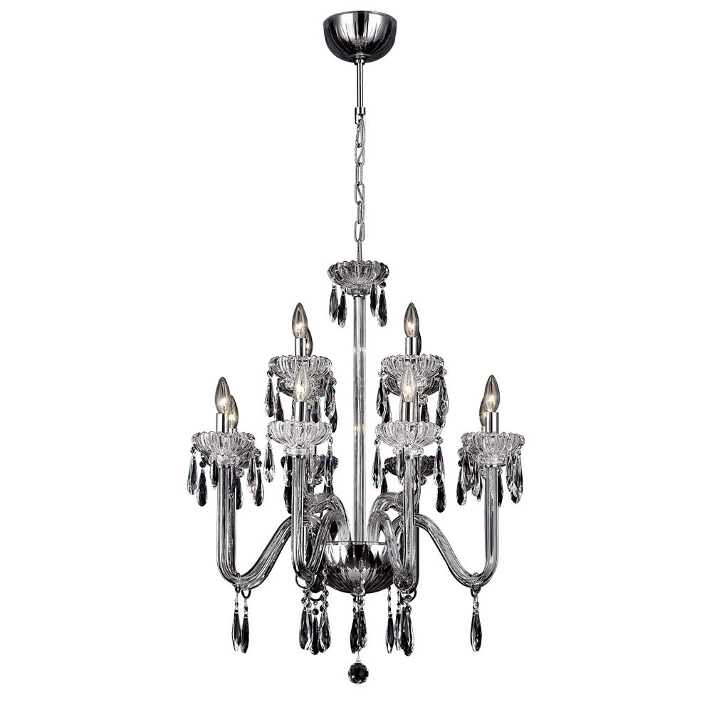 Eurofase Villa Collection, 12-Light Chrome and Clear Chandelier