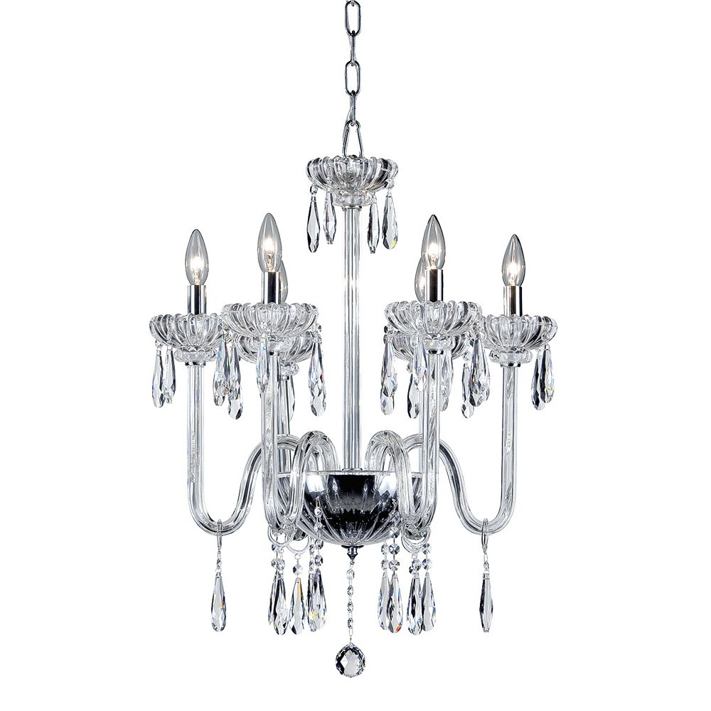 Eurofase Villa Collection, 6-Light Chrome and Clear Chandelier