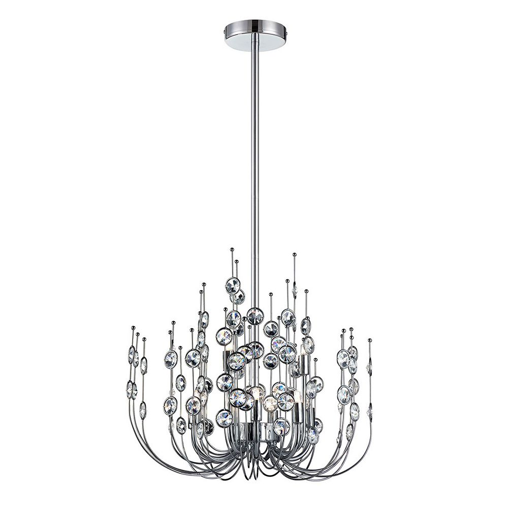Eurofase Vice Collection, 9-Light Chrome and Clear Chandelier