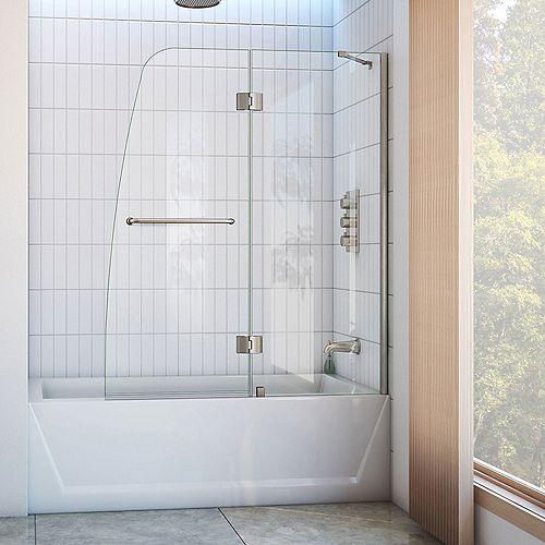 DreamLine DreamLine Aqua 122 cm x 147 cm Porte de baignoire Articulée Sans cadre, fini Nickel Brossé