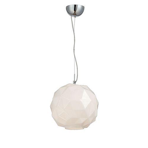 Collection Studio, luminaire suspendu chrome et opale blanc à 1ampoule