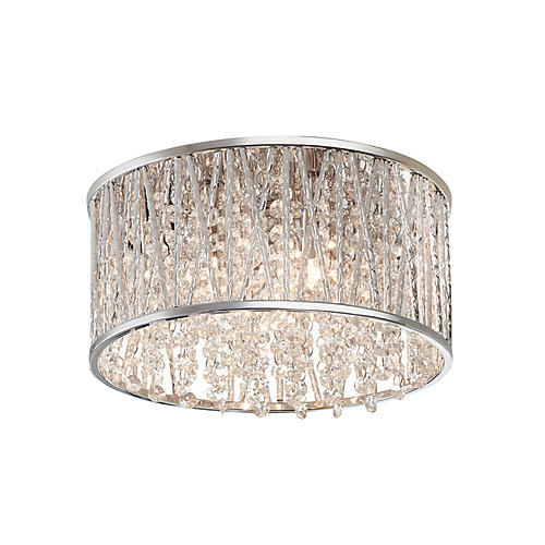 11.5-inch 3-Light Polished Chrome and Crystal Drum Shape Flush Mount