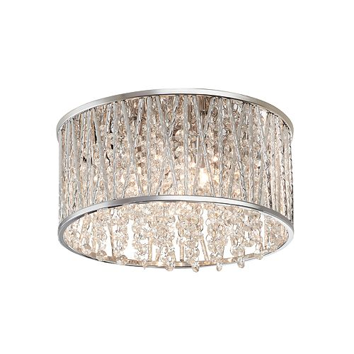 Home Decorators Collection 11.5-inch 3-Light Polished Chrome and Crystal Drum Shape Flush Mount
